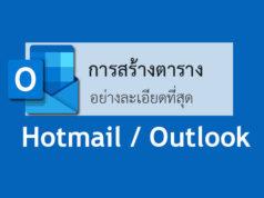 ใส่ตารางอีเมล์ Hotmail / Outlookแทรก เปลี่ยนแปลง